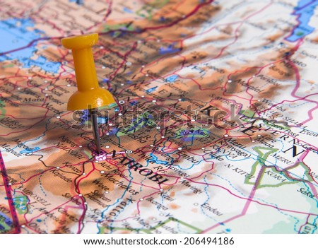Nairobi  in the map with pin - stock photo
