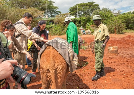 NAIROBI/KENYA - JANUARY 17: Baby elephant covered by horsecloth stands among keepers and visitors of David Sheldrick Orphanage on January 17, 2008 in Nairobi.