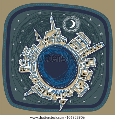 Naive spherical panorama of a city at night - stock photo