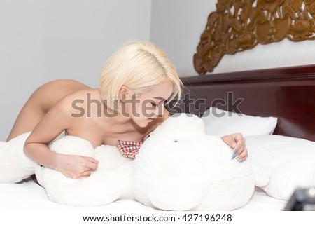 hot girls cuddle teddy bear