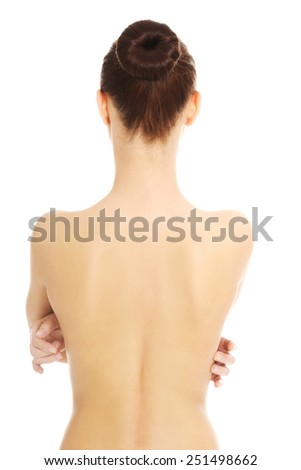 Naked beautiful woman's back - stock photo