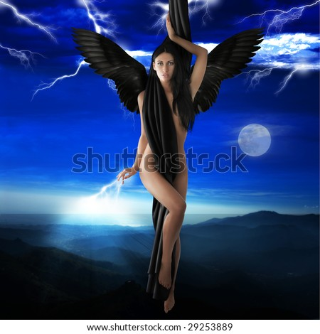 naked black angel flying to heaven in a lightning night sky - stock photo
