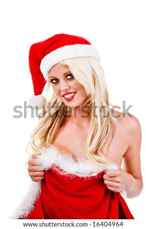Naked blond woman in a Santa hat wrapped in a red velvet Christmas Gift bag