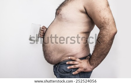 naked body torso fat hairy belly and brust Man hold empty big beer mug Idea concept healthcare unhealthy lifestyle - stock photo