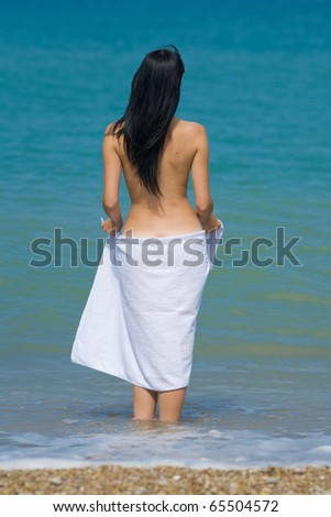 Naked Middle Aged Woman On Beach Stock Photo 75650986