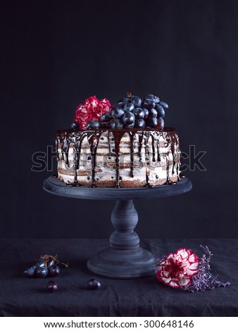 Naked cake with chocolate frosting and grapes on a black stand on dark background - stock photo