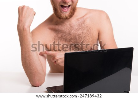 Naked man and cyber sex fun - studio shoot  - stock photo