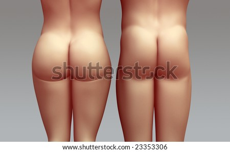 Naked man and woman seen from behind - stock photo