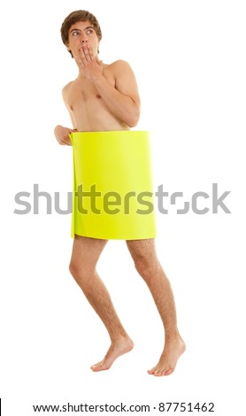 naked man covering oneself yellow card, white background - stock photo