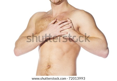 naked man  having a heart attack isolated white - stock photo