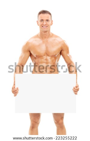 Naked man holding a blank banner in front of his crotch isolated on white background - stock photo