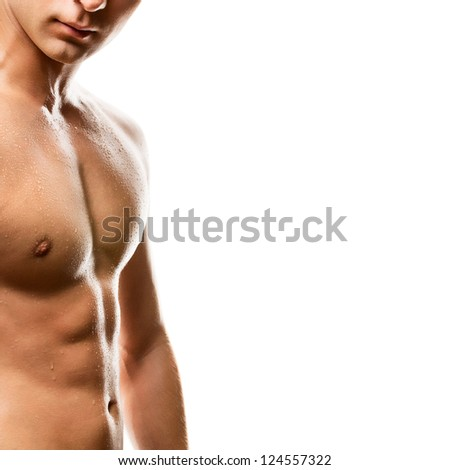 Naked man's chest on white background - stock photo