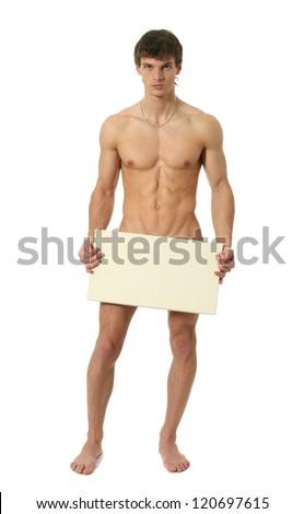 Naked man holding blank banner — Stock Photo