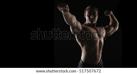 naked torso athlete bodybuilder man on black background
