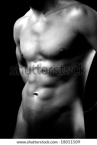 Naked torso of young muscular man - stock photo