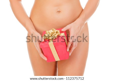 Naked woman with a gift box - stock photo