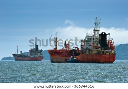Nakhodka, Russia -  August 2, 2015:Tankers Ocean and Glorisilver standing in the roads.