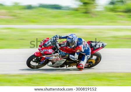 NAKHON PATHOM - JULY 25 : Paitoon N. with Yamaha R3 motorcycle in Thailand SuperBikes Championship 2015 Round 1 at Thailand Circuit, on July 25, 2015 in Nakhon Pathom, Thailand. - stock photo