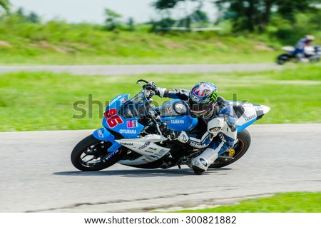 NAKHON PATHOM - JULY 25 : Sutipat P. with Yamaha R3 motorcycle in Thailand SuperBikes Championship 2015 Round 1 at Thailand Circuit, on July 25, 2015 in Nakhon Pathom, Thailand. - stock photo