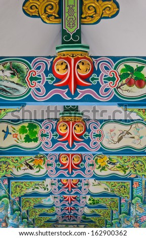 NAKHON PATHOM,THAILAND - FEBRUARY 23 :Chinese pattern art on temple beam at Wat Onoi on February 23, 2013 in Nakhon Pathom, Thailand.  - stock photo