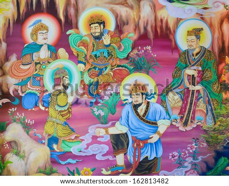 NAKHON PATHOM,THAILAND - FEBRUARY 23 : Traditional Chinese mural on temple wall at Wat Onoi on February 23, 2013 in Nakhon Pathom, Thailand.
