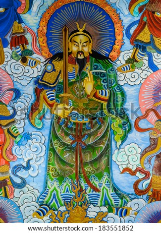 NAKHON PATHOM,THAILAND -MARCH 7, 2013 : Traditional Chinese mural on temple wall at Wat Onoi on March 7, 2013 in Nakhon Pathom, Thailand.