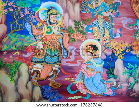 NAKHON PATHOM,THAILAND -MARCH 7 : Traditional Chinese mural on temple wall at Wat Onoi on March 7, 2013 in Nakhon Pathom, Thailand.
