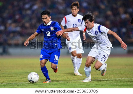 NAKHON RATCHASIMA THA-Feb07:Chanathip Songkrasin#18 of Thailand during the 43rd King's cup match between Thailand and Korea Rep at Nakhon Ratchasima stadium on February07,2015 in Thailand. - stock photo