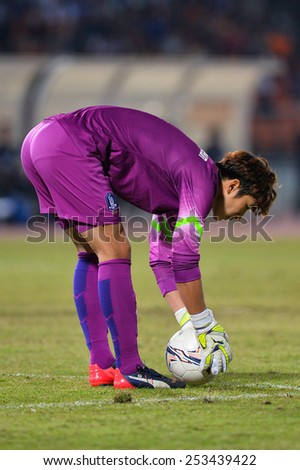 NAKHON RATCHASIMA THA-Feb07:Jung Sung-ryong (GK)of Korea Rep in action during the 43rd King's cup match between Thailand and Korea Rep at Nakhon Ratchasima stadium on February07,2015 in Thailand. - stock photo