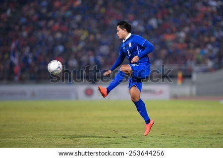 NAKHON RATCHASIMA THA-Feb07:Peerapat Notchaiya#2 of Thailand during the 43rd King's cup match between Thailand and Korea Rep at Nakhon Ratchasima stadium on February07,2015 in Thailand - stock photo