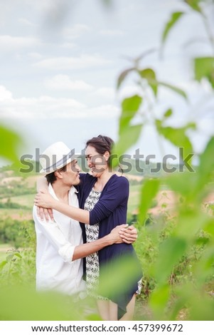 NAKHON RATCHASIMA, THAILAND - AUG 1,2015 : Couple in love preparing for marriage They're happy together. Marriage with love. Pre wedding on AUGUST, 2015 in NAKHON RATCHASIMA ,Thailand