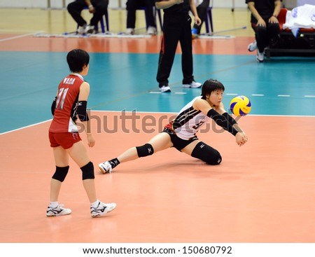 Nakhon Ratchasima, Thailand - AUG 1:Mizuki Yanagita #9 of Japan in action during FIVB Volleyball Girls U18 World Championship at Chatchai Hall on August 1, 2013 in Nakhon Ratchasima, Thailand.