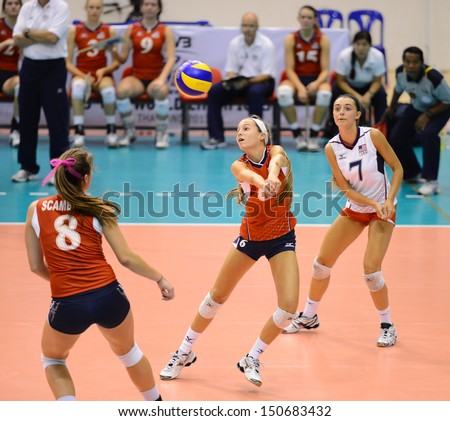 Nakhon Ratchasima, Thailand - AUG 2:Molly Sauer #6 of USA in action during FIVB Volleyball Girls U18 World Championship at Chatchai Hall on August 2, 2013 in Nakhon Ratchasima, Thailand.
