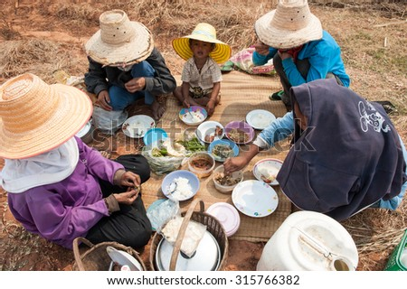 NAKHON RATCHASIMA , THAILAND - FEBRUARY 7 : Workers in sugar can plantation have lunch together on FEBRUARY7, 2011 in Nakhon Ratchasima, Thailand