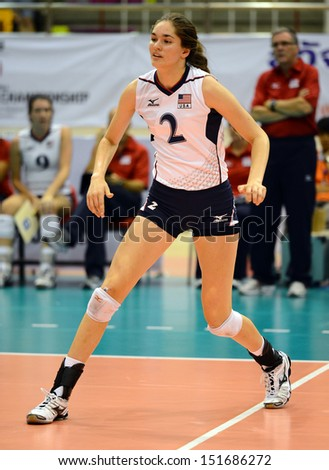 NAKHON RATCHASIMA, THAILAND - JULY 27:Audriana Fitzmorris of USA participates in a FIVB Volleyball Girls� U18 World Championship at Chatchai Hall on July 27, 2013 in Nakhon Ratchasima, Thailand.