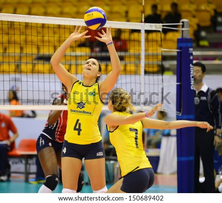 - July 26:Mariana Dias #4 of Brazil in action during FIVB Volleyball ...