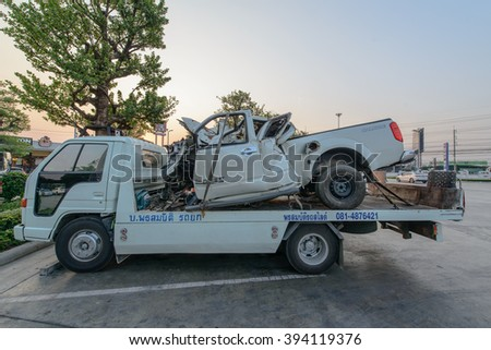 NAKHON RATCHASIMS, THAILAND - March 21,2016:Evacuation vehicle for traffic violations, March 21.2016, in Pak Chong, Nakhon Ratchasima.