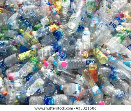 Nakhon Rratchasima,Thailand-June 12,2016: Plastic bottles waste from household.  - stock photo