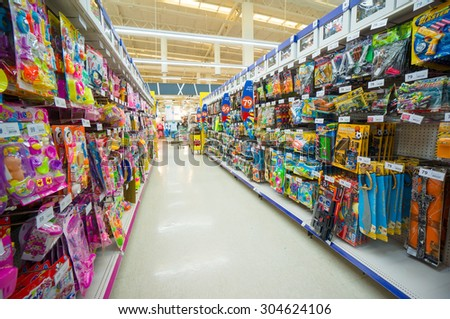 Nakhon Si Thammarat, 27 june 2015: Rows of shelves with toys in Tesko Lotus mall at Nakhon Si Thammarat, Nakhon Si Thammarat province, Thailand.