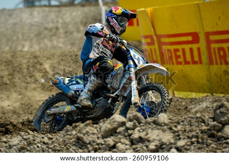 Nakhonchaisri,THAI-MAR 08:Todd Waters Husqvarna#47 of AUS MA Red Bull IceOne Husqvarna Factory Racing competes during the Thai MXGP World at thailand Circuit on March08,2015 in Nakhonpathom,Thailand - stock photo