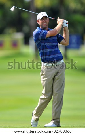 NAKHONPATHOM,THAILAND - AUG 12:Kim Felton of AUS in action during day two of the 2011 Thailand Open at Suwan Golf&Country Club on August 12, 2011 in Nakhonpathom Thailand - stock photo