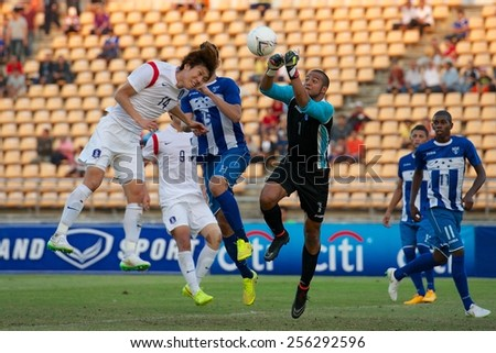 NAKHONRATCHASIMA THAILAND-FEB 04:Goalkeeper Tursunbaev Akmal of Honduras in action during the 43rd King's cup between Honduras and South Korea at Nakhon ratchasima stadium on Feb 04,2015 in Thailand. - stock photo