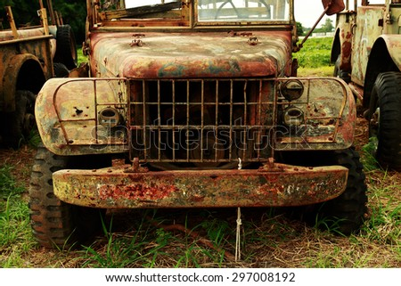 NAKHONRATCHASIMA, THAILAND-JULY 16: Car Dodge WC61 US Army, from Vietnam War Era  retired from Surathampitak Thai Army Camp waiting for buyer to purchase, July 16, 2015 in Nakhonratchasima, Thailand. - stock photo