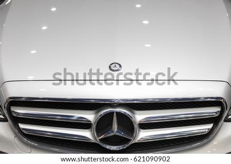 Nakhonratchasrima,Thailand, April 01, 2017:Mercedes Benz logo close up. Mercedes-Benz is a German automobile manufacturer.