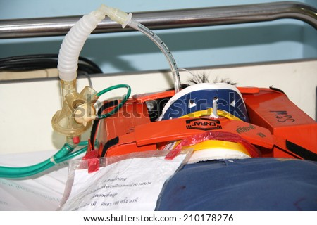 NAKHONSAWAN/THAILAND-JULY 31: Exercise Management for group accident on July 31, 2014 in Nakhonsawan. Some severe traumatic victims need ventilator for assisting ventilation.  - stock photo