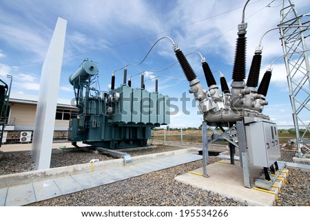 NAKHONSAWN-THAILAND -NOVEMBER 11 : The construction of electrical substation to generate electricity on November 11, 2013 in Nakhonsawan province, Thailand - stock photo