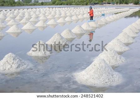 Naklua Mass of salt in salt seaside farm, Petchaburi Asia Thailand - stock photo
