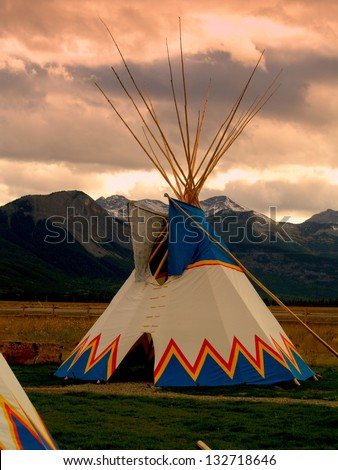 Nakoda Tepee on Great Plains east of  the Canadian Rockies, west of Calgary. This area was subject to Treaty 7 signed in 1877, one of 11 such major treaties signed in Canada between 1871 and 1921. - stock photo