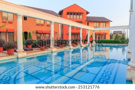 NAKORN RATCHASRIMA - FEB , 16 : The view of the resort at big mountains have classic and  nice view . There are many people go there for  relax with their family. THAILAND FEB , 16 2015 - stock photo
