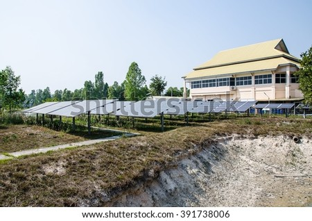 NAKORNPANOM, THAILAND - FEB 23: Solar cell in research institute of Nakornpanom,Which is a financial institution Research Replacement Power especially university on Feb 23, 2016.
